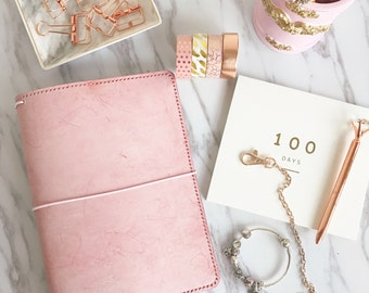 Waxed Ice Pink Office Planner, All Sizes & A5 or A6 size Hobonichi Techo / Travelersnotebook