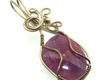 Ruby Gemstone Wire Wrapped Pendant Design 1