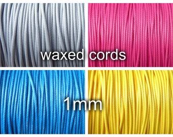 1mm waxed polyester cord - 10 meters - diameter 1mm, lt grey, yellow, blue, pink