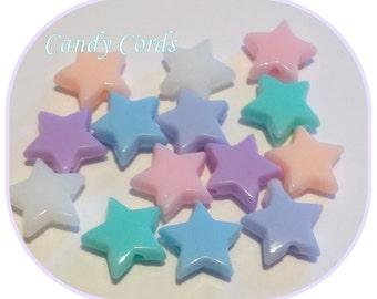 Stunning Pastel Star Beads Acrylic Plastic Approx. 7mm Jewellery Making Kawaii Craft Supplies Beading