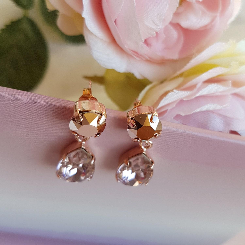 Rose Gold Earrings, Swarovski Rose Gold, Vintage Rose Drop, Bridal Drop  Earrings, Swarovski Earrings, Rose Gold, Wedding Earrings, Muriel