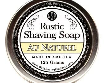 Rustic Men's Shaving Soap (Unscented) Shaving Cream, Vegan Soap, All Natural Soap, Handmade Soap,  Hot Process Soap