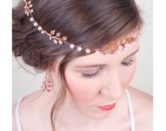 Boho Bridal Rose Gold Hair Vine, Pearl and Rose Gold Sash Belt Crown, Bridal Hair Halo Accessory, Rose Gold, Headpiece 3(RG)