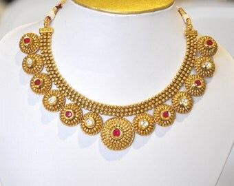 Antique gold design statememt Indian necklace red and white kundan stones with earrings | Indian Jewellery | Indian Necklace | Temple Jewelr