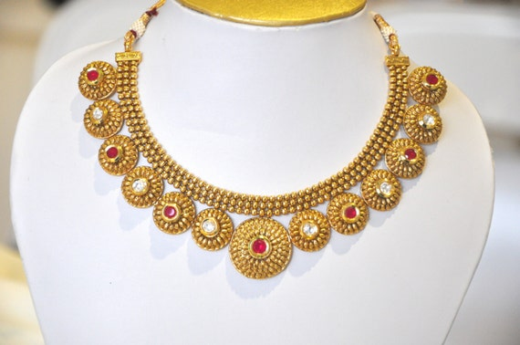 Antique gold design statememt Indian necklace red and white kundan stones with earrings   Indian Jewellery   Indian Necklace   Temple Jewelr