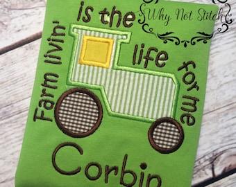 Farm life shirt, farm life, farm living, farming shirt, farming, boy's shirt, boy personalized shirt, tractor shirt, boy tractor shirt