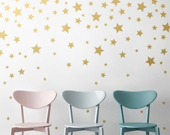 Star Wall Decals - Gold Star Decals, Nursery Wall Decals, Star Wall Stickers, Removable Wall Decals