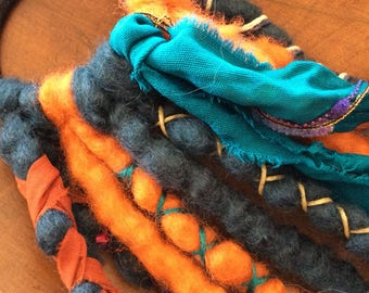 Ready to ship dreads/wool dreads/wool dreadlocks/woolies/clip in dreads/teal dreads/orange dreads/orange woolies/boho/doll hair