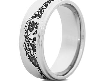 Men's Titanium Wasatch Mountain Ring with Laser Carving