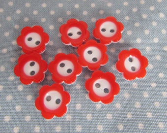 11mm Red and White Flower Buttons