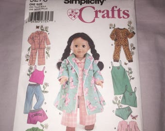 Simplicity Doll Clothes Pattern; Doll Clothing Pattern; Pattern 5276; Simplicity Crafts Pattern