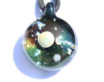 Hand Blown Glass Space Galaxy with Planet and Moon Pendant Boro Borosilicate