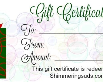 Shimmering Suds Gift Certificate