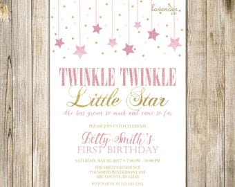 Twinkle TWINKLE LITTLE STAR Birthday Invitation, Pink Gold Glitter Stars Girl One Birthday Invite, Girl 1st First Birthday Printable Digital
