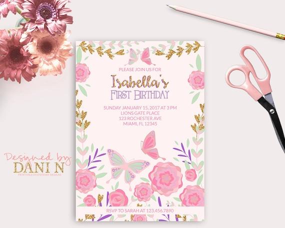 Garden birthday invitation 1st birthday butterfly invite pink and il570xn filmwisefo
