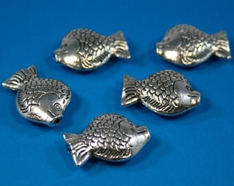 Bali Style Large Pewter Fish 22 x 16 mm  (5 beads)