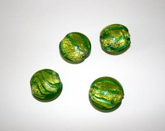 Glass Foil Lime Green Lampwork Beads  (4 Beads)   22 mm