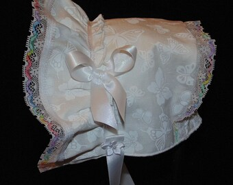 New Handmade White Butterfly Print with Multi-color Lace Baby Bonnet