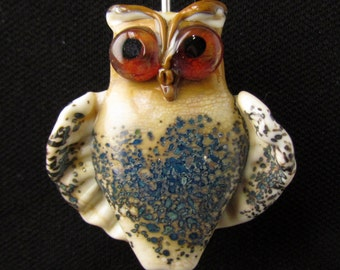 OWL, lampwork beads, handmade glass beads, ivory with turquoise  artisan lampwork bead, beads for pendant, by Inna Kirkevich