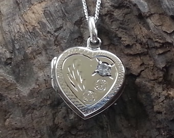 Sterling Silver CZ Heart Locket Pendant Necklace