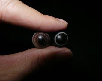 2 Pcs Of Nepal Tibet Round Natural Agate Sky Eye Medicine Beads VIII