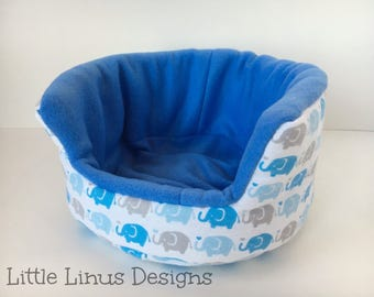 """Cozy Cuddle Cup Bed - Elephants in Line / Blue - Fleece & Flannel - 8"""" for Hedgehog / Guinea Pig / Rat / Small Animal / Pet"""