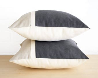 Cushion cover in charcoal grey and putty cotton hemp. Color block gray throw pillow. Australian designed and made.