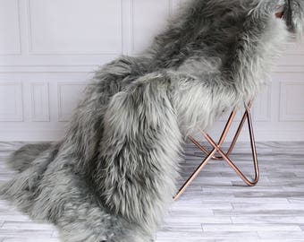 ON SALE Icelandic Sheepskin Throw | Gray Throw | Gray Sheepskin Rug | Square Sheepskin Rug | Sexto Sheepskin Rug | 180 x 160 sheepskin