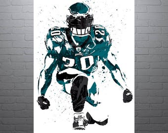 Brian Dawkins Philadelphia Eagles Sports Art Print, Football Poster, Kids Decor, Watercolor Contemporary Abstract Drawing Print, Modern Art