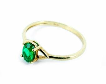 Vintage 9ct 9k Gold Chrome Diopside Ring Size 7 1/4 - O