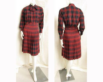 Vintage 1980s ADOLFO 2-Piece Dress Plaid Blouse and Skirt Outfit