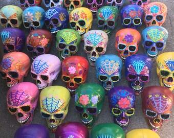 Day of the Dead - LIFE SIZE Painted sugar skull - skull sculpture - custom made - Dia de los Muertos - hand painted  - Halloween decor