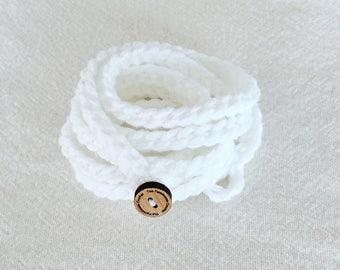Crochet Jewelry, Wrap Bracelet, Ankle Bracelet, Wrap Jewelry, Boho Bracelet, Boho Wrap Bracelet, White Crochet Bracelet