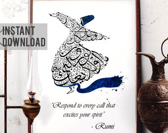 Rumi Quote Wall Art, Respond to Every Call That Excites Your Spirit, Mevlana Watercolor Art, Whirling Dervish, Sufi, Digital Download R06