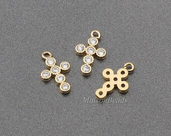 2PCS Cubic set CZ Cross Pendant Charm Gold plated over brass / SP003GP