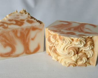 High Top Peach Coconut Wild Berry Soap - Cold Process Drop Swirl Soap with Cream and Cashmere Colored Soap Swirls - Artisan Soap