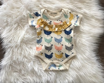 Organic baby clothes, chicken bodysuit, romper, take home outfit, newborn girl, coming home, spring chicken, 0-3 months, 3-6 months, 6-12