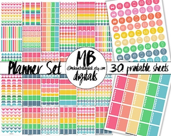 PRINTABLE PLANNER Stickers, Print and Cut, Candy Shop Solids, Everyday, Printable pdf, Instant Download