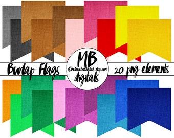 20 Burlap Flags, Clip Art