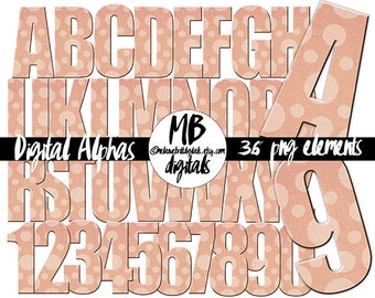 PINK ALPHABET, Polka Dot, Letters, Numbers, Clip Art, Craft Letters, Digital Download
