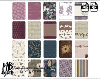 RAZZLEBERRY, Journal Cards, Wild Flower, Elegant Autumn, Lavender, Purple, Brown, Printable Cards, Pocket Scrapbooking, INSTANT DOWNLOAD