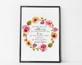 Tom Petty Lyrics - Nursery Print / Canvas - Wildflowers Nursery - Lyrics Nursery Quotes - Floral Nursery Wall Decor - Floral Wreath