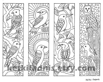 Bookmark coloring Etsy