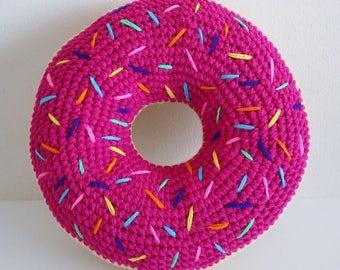 Crochet Magenta Frosted Donut with Rainbow Sprinkles