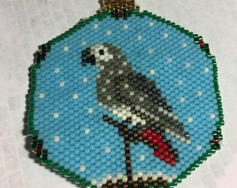 Hand Beaded African Grey Parrot Snow Globe Ornament Christmas Holiday Bird Lover Parrot Owner