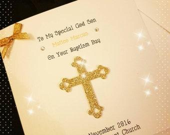 Personalised Christening Card- Baptism Card- glitter - Godmother - Godchild - Godfather - Gift - Handmade