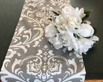 SALE!  Gray and white damak table runners