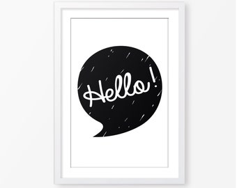 Hello kids poster,black and white poster,monochromatic,digital file,scandinavian style,children wall art,nursery poster,baby poster