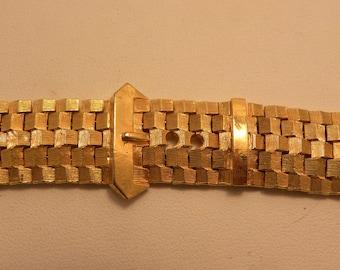 Vintage Heavy Gold Tone Buckle Look Bracelet