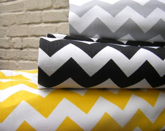 100% Cotton Fabric - Yellow&White or Grey-White Black-White  Classic Chevron  -ZigZAg Fabric  by  Fat Quarter Half Metre Metre